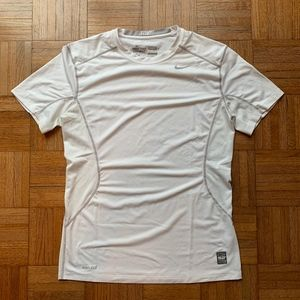 NIKE Pro Combat Fitted Dri Fit White Shirt, M